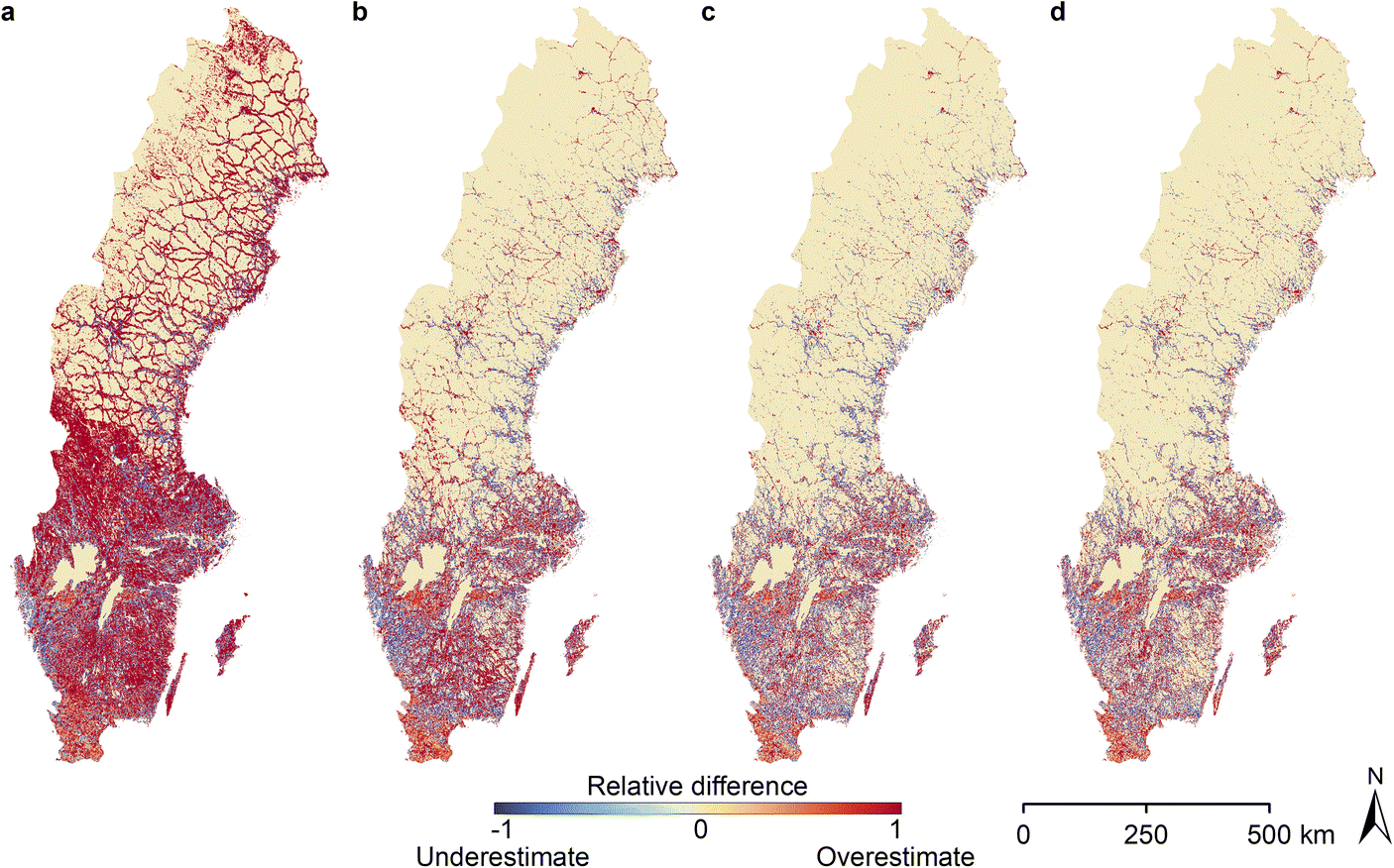 Relative difference between LandScan estimated population and the known population. a LandScan 2000, b LandScan 2005, c LandScan 2010, d LandScan 2015