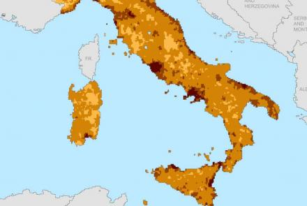 SEDAC GPWv4 Population Density in Italy